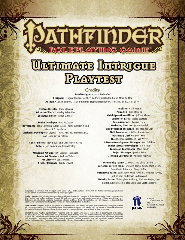 Worldwide Playtest for New Pathfinder RPG Book, Ultimate Intrigue